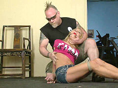 Amy Brooke bound, ball-gagged and used like a romp fucktoy