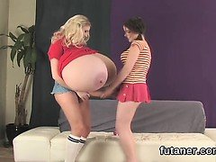 Kinky sweeties bang the biggest strap-ons and spray cream al