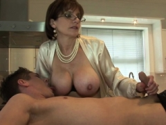 Dame Sonia gives young-looking worker blowjob face cumshot