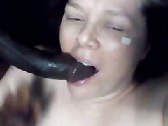 Hot white broad blows off sizeable black dick