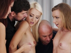 Hot group sex with slutty glamour models