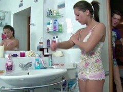 stepbrother Caught Stepsister in Bathroom Fuck her in Ass