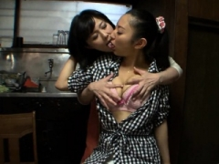 Aroused japanese played on her shaggy pussy and big boobs