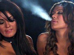 Smoking girls in fetish lingerie