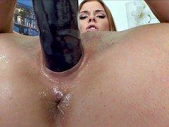Babe with big purple dildo