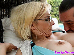 Mature doggie-style assfucked by the pool