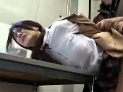 Asian schoolgirl is punished for being bad and nailed over