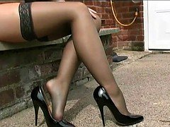 Stockings-clad hotties getting banged on camera