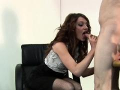 Teasing CFNM chick rides slaves fuck pole