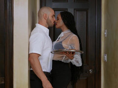 Julie Kay seduces her hunky husband and fucks him in the bathroom