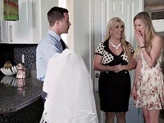 Tailor fucks his friend young bride Karina White in wedding dress