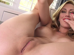 Hot blonde is massaging her pussy and she is turning upside down