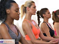 FitnessRooms Group yoga session ends with a sweaty creampie