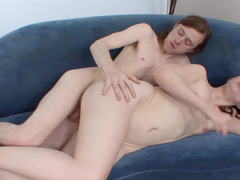 A utterly underweight girl with a sexy face is getting pounded hard