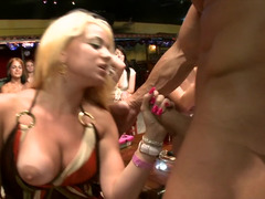Breast flashing and also dick sucking party gals at a strip club