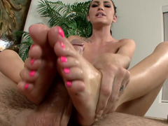 Toes with a pretty pedicure make his hard penis feel so good