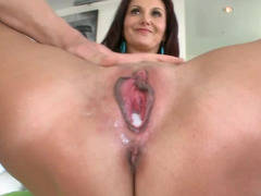 Freaky brunette adult video star needs a huge dildo in her tight cunt