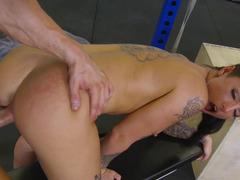 A erotically attractive temptress is getting penetrated in the gym by a man