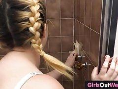 Chubby hairy inexperienced masturbates after shower