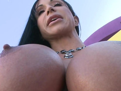 A hot old broad covers her boobs and additionally bum with lotion and additionally gets fucked