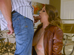 Natural breasts babe in a sexy leather jacket is excited for hard cock