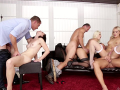 Hot kittens are with some guys, in an orgy, making a hot real hardcore orgy party