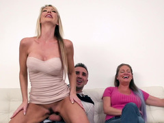 Blonde is getting ball batter wherever on her face while she is getting fucked