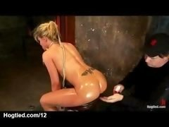 Bigtitted kilted blonde clit vibed and furthermore bum caned