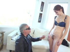 A slim redhead gets naked and furthermore she gets her pussy filled up
