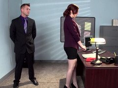 A redhead that has a unshaved vagina is getting fucked in the office