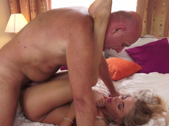Undersized blonde darling gets rammed by a really horny grandpa
