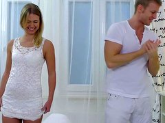 Young-looking sweet couple prefers white clothes and plus tender lovemaking