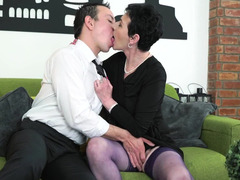 Youngster has fun with brunette granny and furthermore fills her mouth with cum