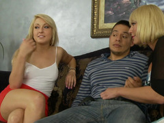 Young-looking guy whips it out to make love a milf and plus a smoking hot teen