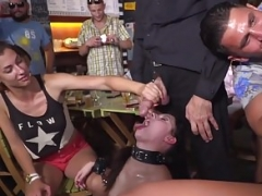 Undersized Whore Rebecca Volpetti is coerced into Public Sex &