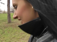 Russian doxy blows love pole and rides it in the public park in autumn