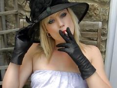 Smoking blonde upskirt vag in leather gloves