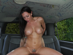 A Latina with a tattoo over her honey pot has an intercourse in the back of a van