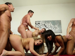 Xxx getting down and dirty fills the living room at a swingers party