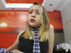 Broad farting in slutty schoolgirl uniform