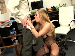 Blonde cougar forces businessman to have an intercourse her in the office