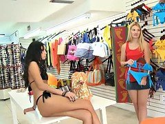 Blondie try on blue bikini and besides fucked for some money