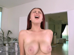 Large penis has its way with a bent over redhead and furthermore makes her cum