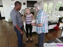 Inexperienced legal teen Alina West bangs with a black lad