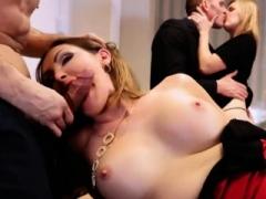 Big boobs lady deepthroats and nailed on long table