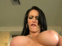 Hoe with big tits gets on knees to eat balls and additionally cum cannon
