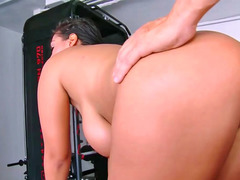 Gorgeous Latina Jasmine Black receives a large vibrator up her cum bucket