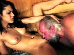 Young and fresh stunner pounded at a sauna by grandpa