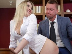 A blonde is penetrated in an erotic episode in the office