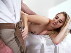 A girl is in the bathroom where she is getting fucked hard